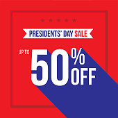 Presidents' Day Holiday Up To 50% Off Sale Advertisement Square Template Vector Illustration