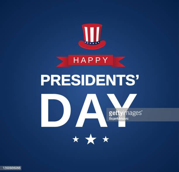 presidents' day poster card with hat. vector - president stock illustrations