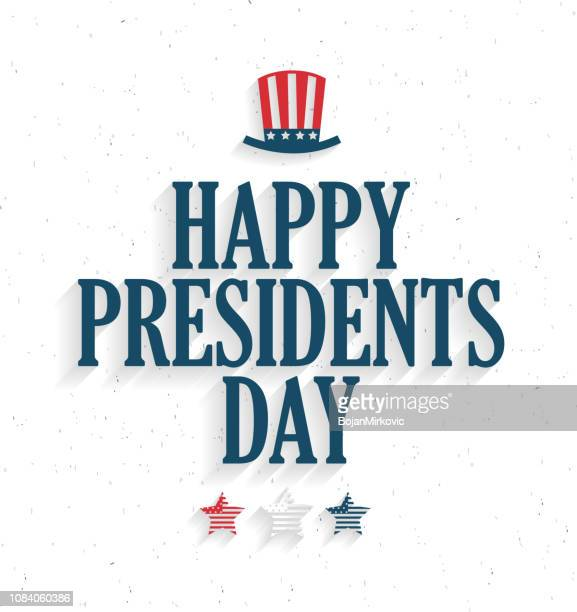 presidents day poster with hat and stars on white background. vector illustration. - us president stock illustrations, clip art, cartoons, & icons