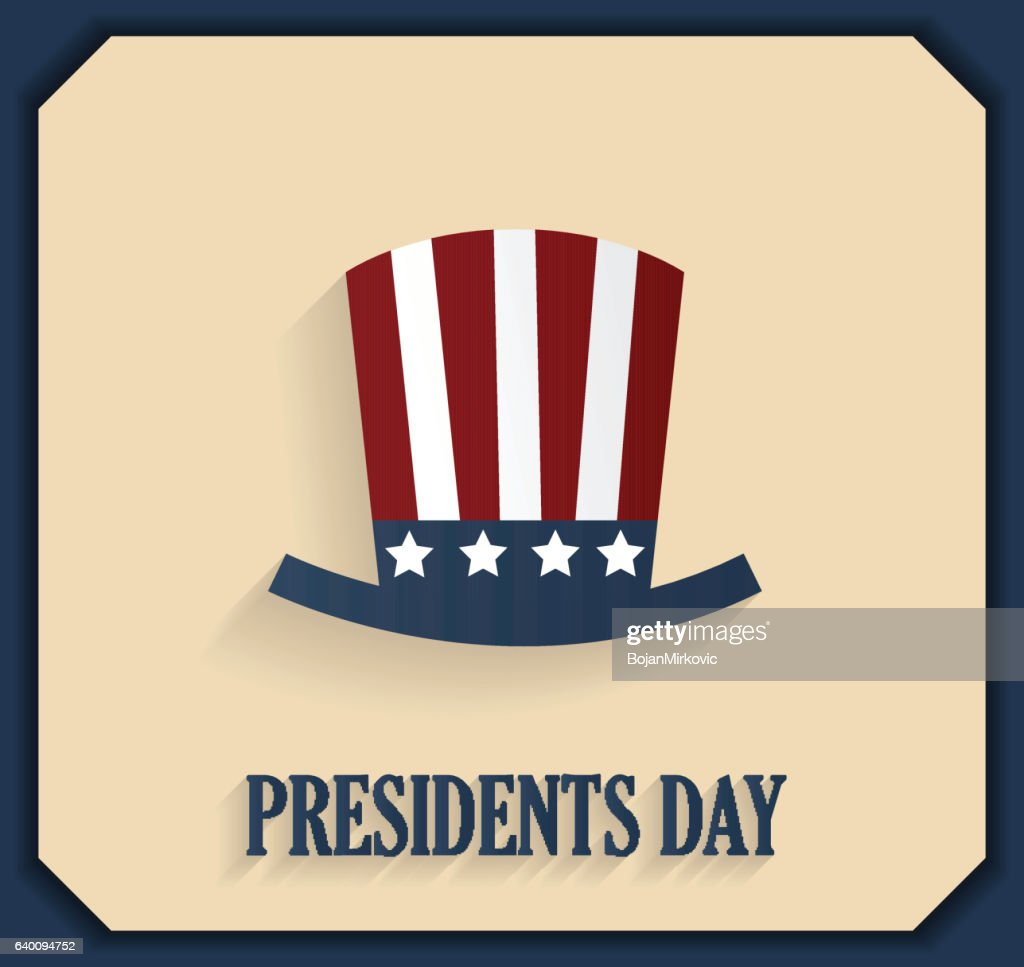 Presidents day poster with hat. Blue border : stock illustration