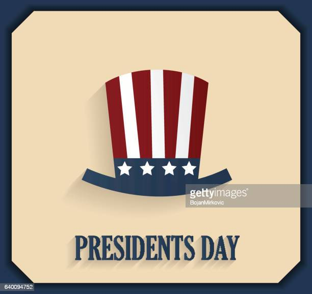 presidents day poster with hat. blue border - president stock illustrations, clip art, cartoons, & icons