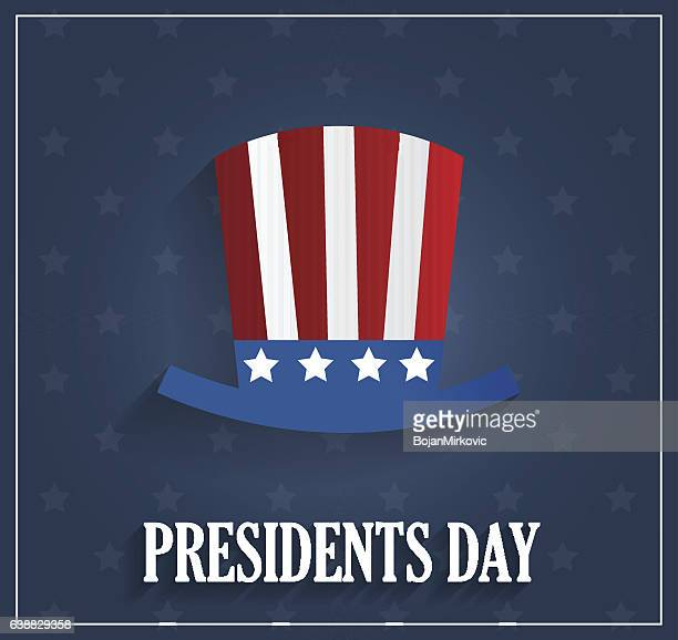 Presidents day poster with hat on blue background