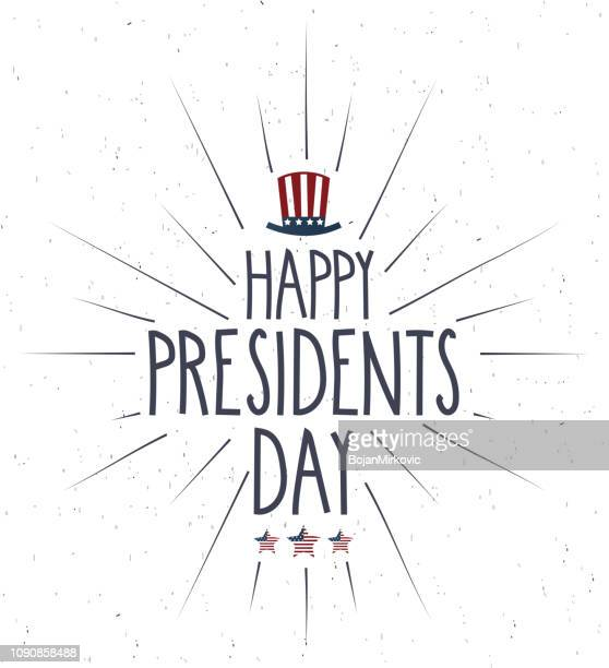 presidents day retro poster with rays. handwritten text. vector illustration. - us president stock illustrations, clip art, cartoons, & icons