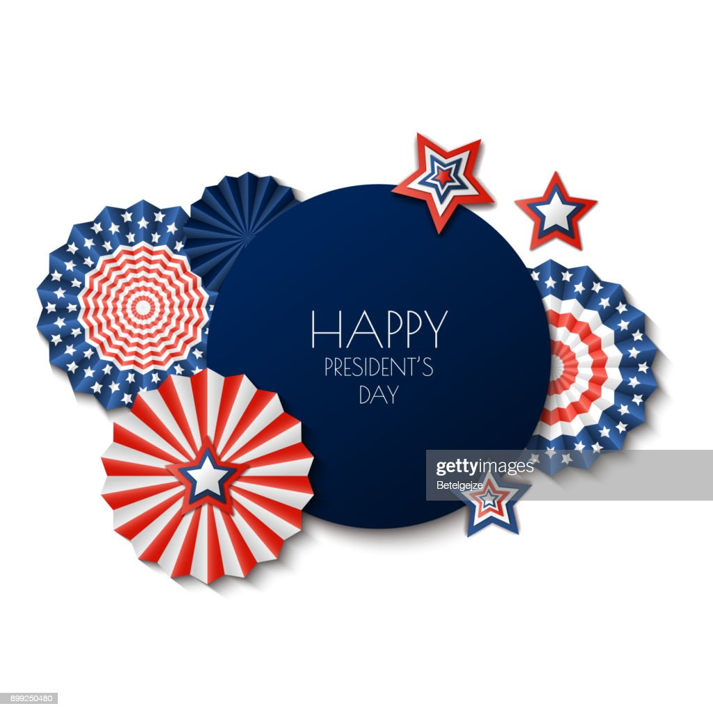 USA Presidents Day. Vector holiday frame isolated on white background. Paper stars in USA flag colors.