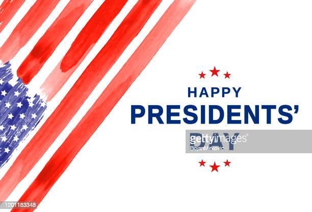 ilustraciones, imágenes clip art, dibujos animados e iconos de stock de día de los presidentes. acuarela bandera de ee.uu. vector - usa
