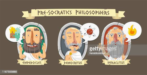 pre-socratic philosophers - atom stock illustrations