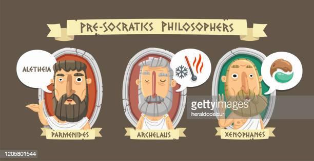 pre-socratic philosophers - philosophy stock illustrations