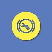 Press break pedal warning vector hmi dashboard flat icon