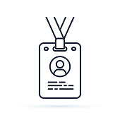 Press card outline icon. linear style sign for mobile concept and web design. Id card badge simple line vector icon illustration.