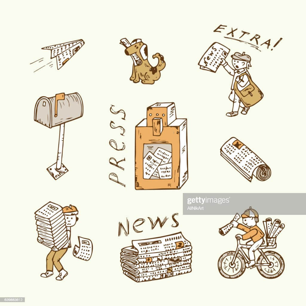 Press. Newspaper vector icons. Postman, paperboys, newspaper vending machine, mailbox