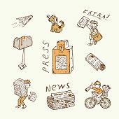 Press. Newspaper vector icons. Postman, paperboys, newspaper vending machine, mailbox