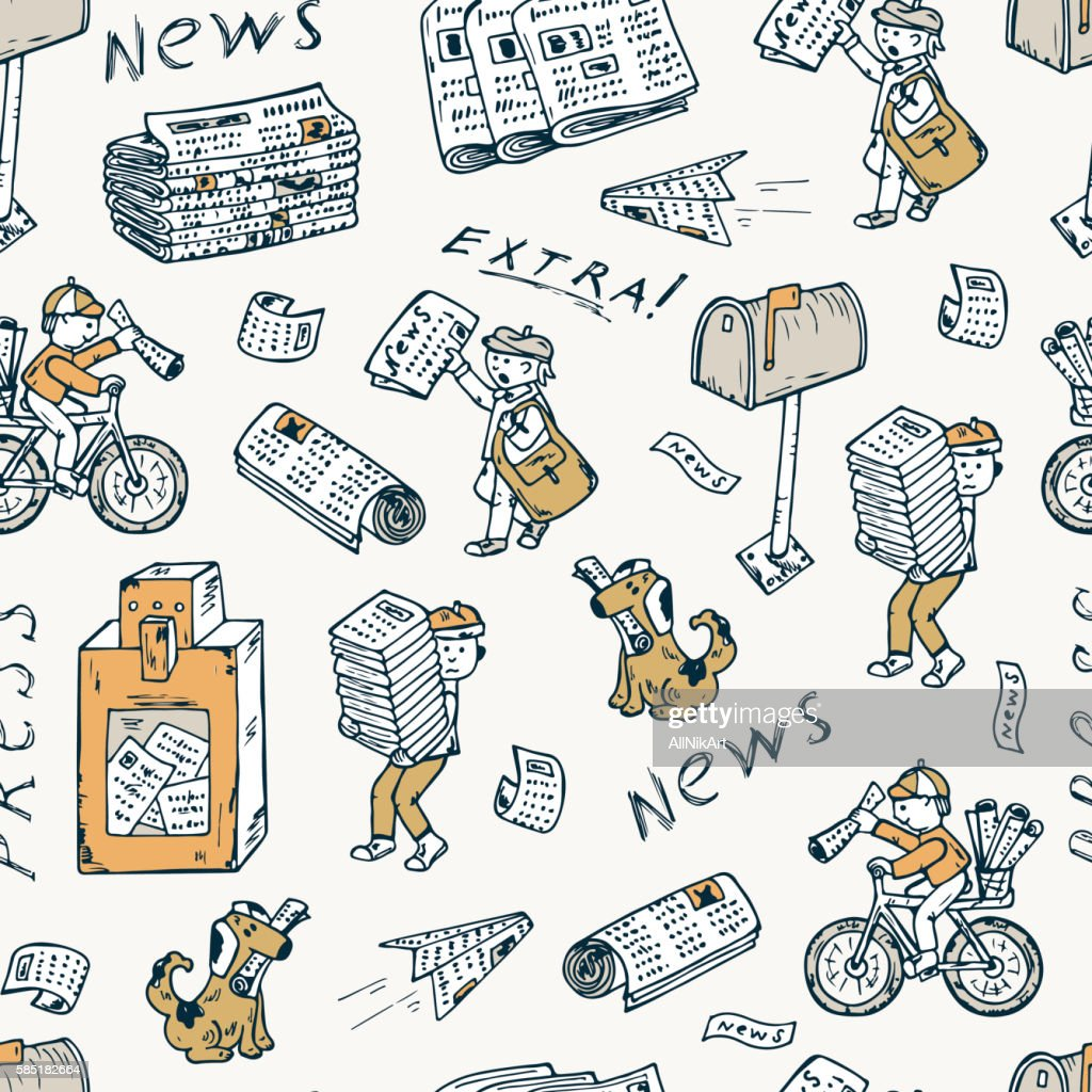 Press. Newspapers. Seamless pattern: postman, paperboys, newspaper vending machine, mailbox