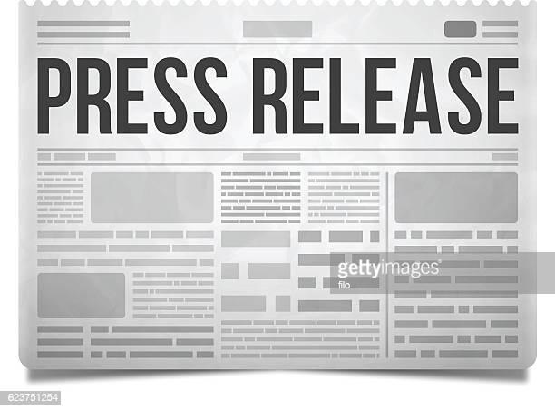 ilustrações, clipart, desenhos animados e ícones de press release newspaper - jornal