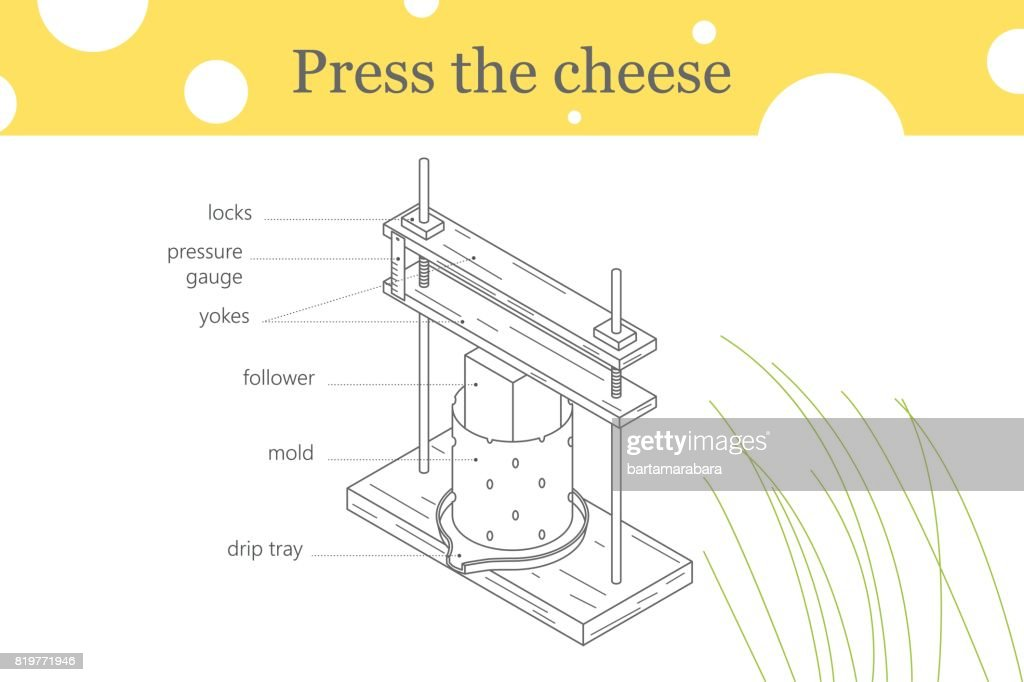 Press the cheese one line illustration.