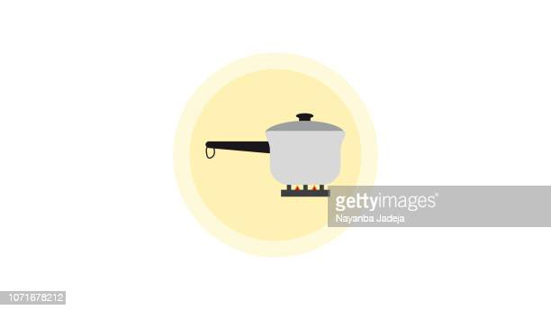 pressure cooker icon on stove - air valve stock illustrations, clip art, cartoons, & icons
