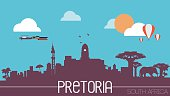 Pretoria city South Africa skyline silhouette