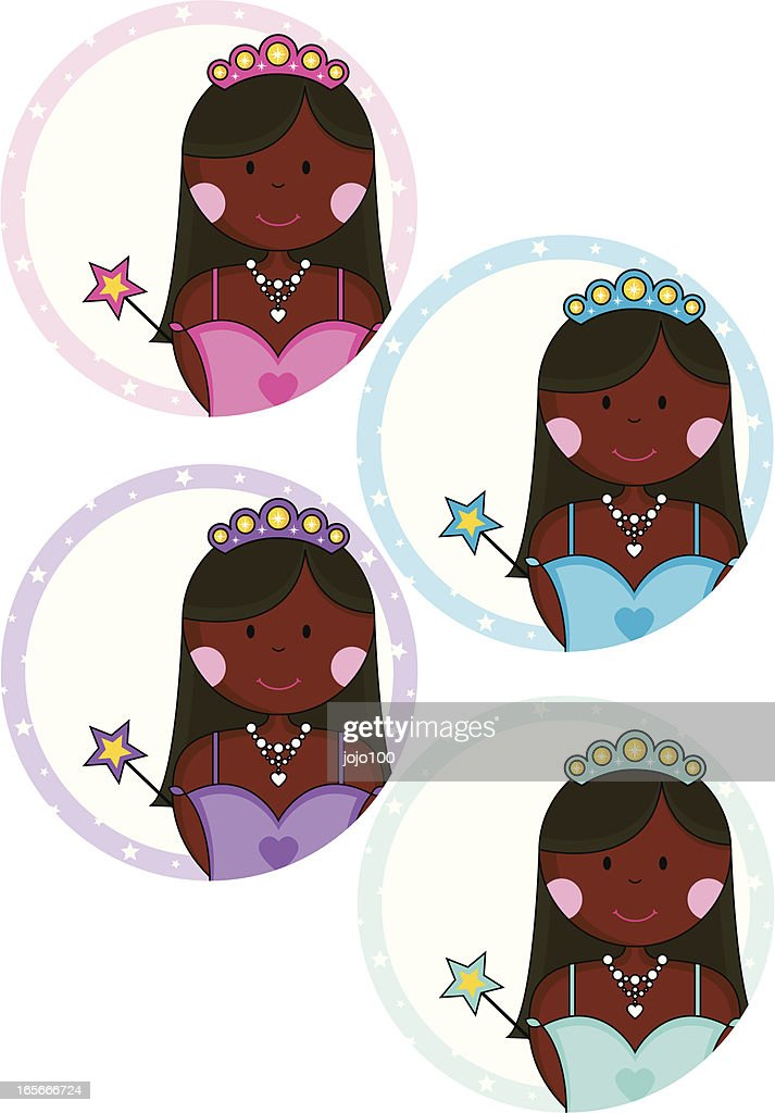 Pretty African Princesses With Wands Invites Or Place Cards Vector Art