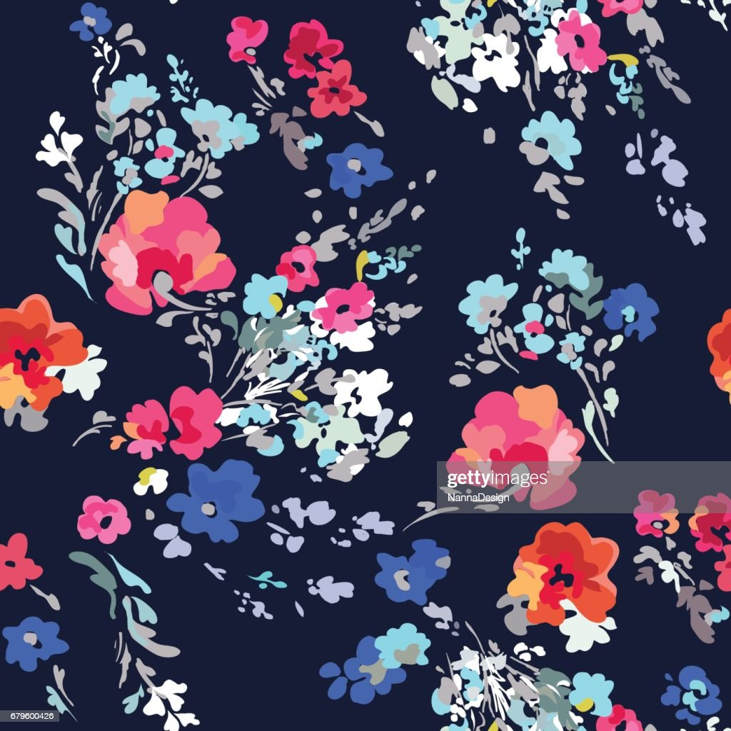 Pretty and colorful painted flowers - seamless background