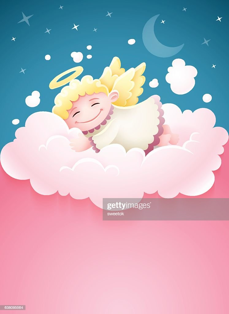 Pretty angel baby sleeping at cloud