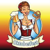 Pretty Bavarian girl with beer and pretzel