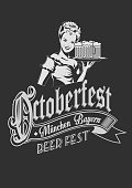 Pretty Bavarian girl with beer. Oktoberfest label ghotic lettering. Ribbon