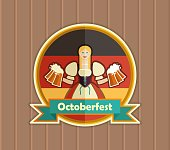 Pretty Bavarian girl with beer. Oktoberfest label