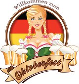 Pretty blond girl with beer, Oktoberfest logo.