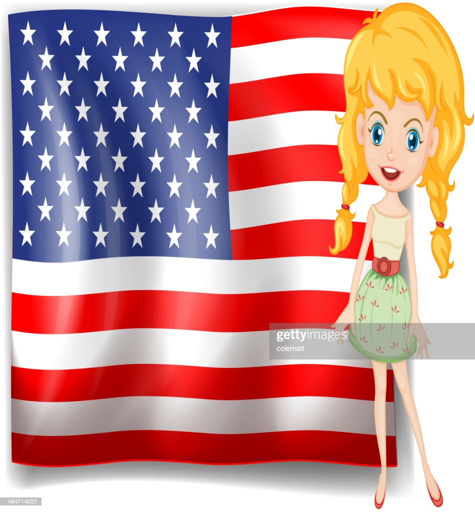Pretty blonde and the USA flag