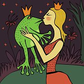 pretty blonde princess kissing a frog