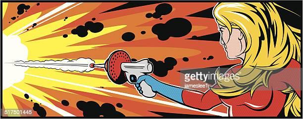 ilustrações de stock, clip art, desenhos animados e ícones de mulher bonita loira com arma de fogo - armadefogo