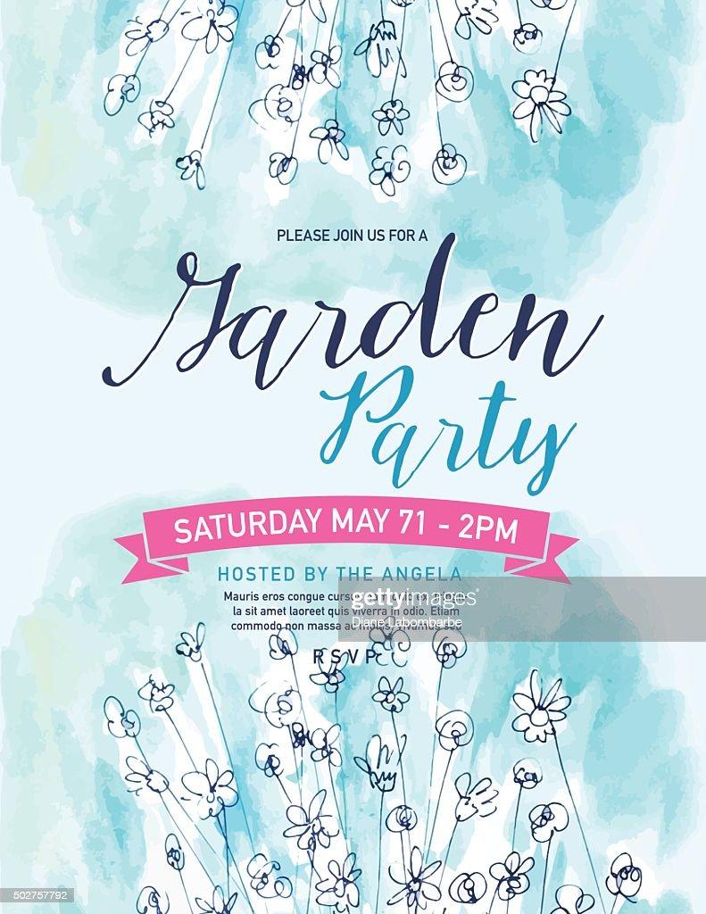Pretty Blue Watercolor Flowers Garden Party Invitation Template ...