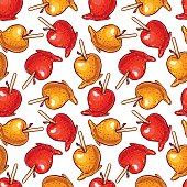 Pretty colorful seamless pattern made of hand drawn toffee apples.