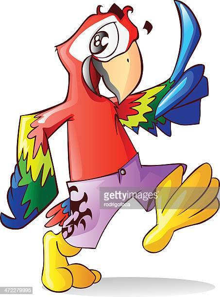 Bonitos Arara Papagaio vermelho fresco Brasileiro