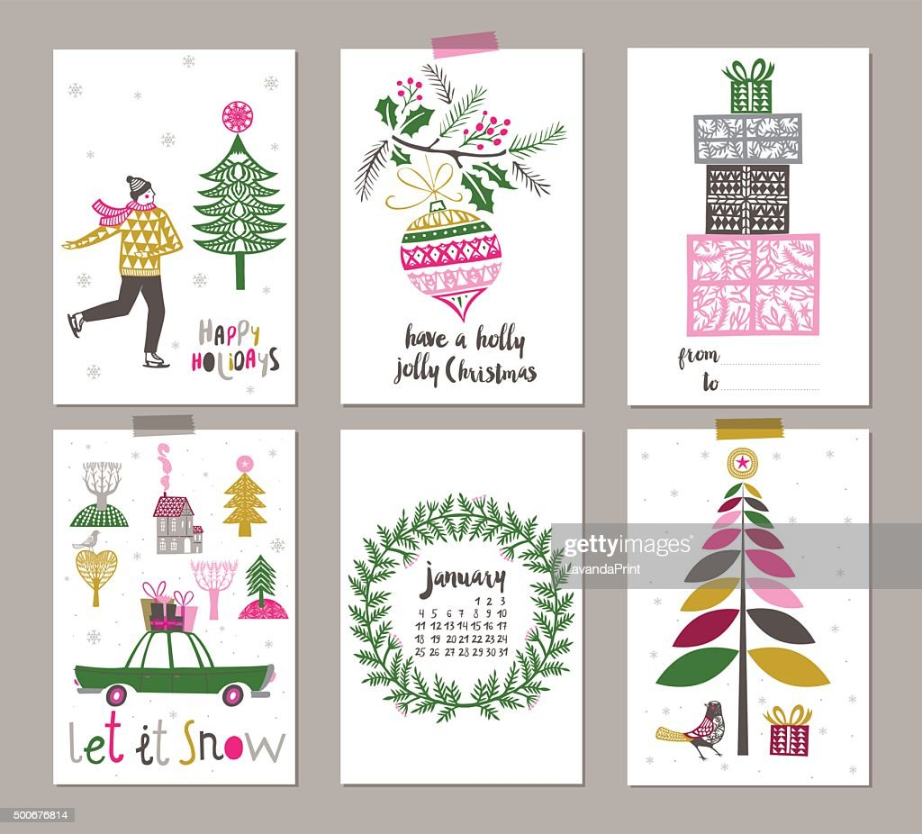 Pretty decorative Christmas labels set