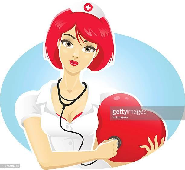 illustrazioni stock, clip art, cartoni animati e icone di tendenza di carino medico - infermiera