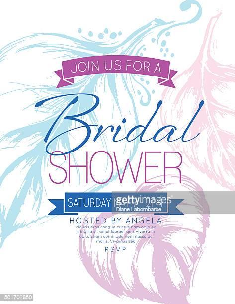 Pretty feminine Hydrangea Bridal Shower Party Invitation Template