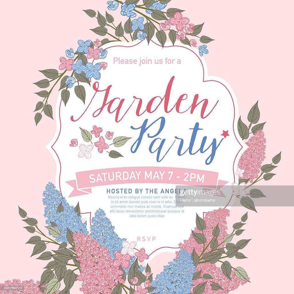 pretty feminine pink and blue garden party invitation template