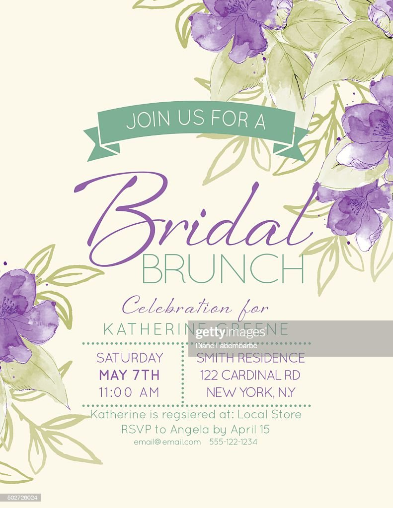Pretty feminine Watercolor Flowers Bridal Shower Invitation Template : stock illustration