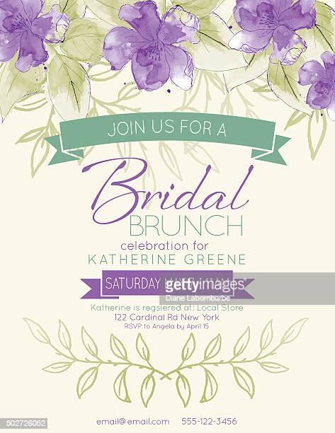 pretty feminine watercolor flowers bridal shower invitation template - wedding invitation stock illustrations, clip art, cartoons, & icons