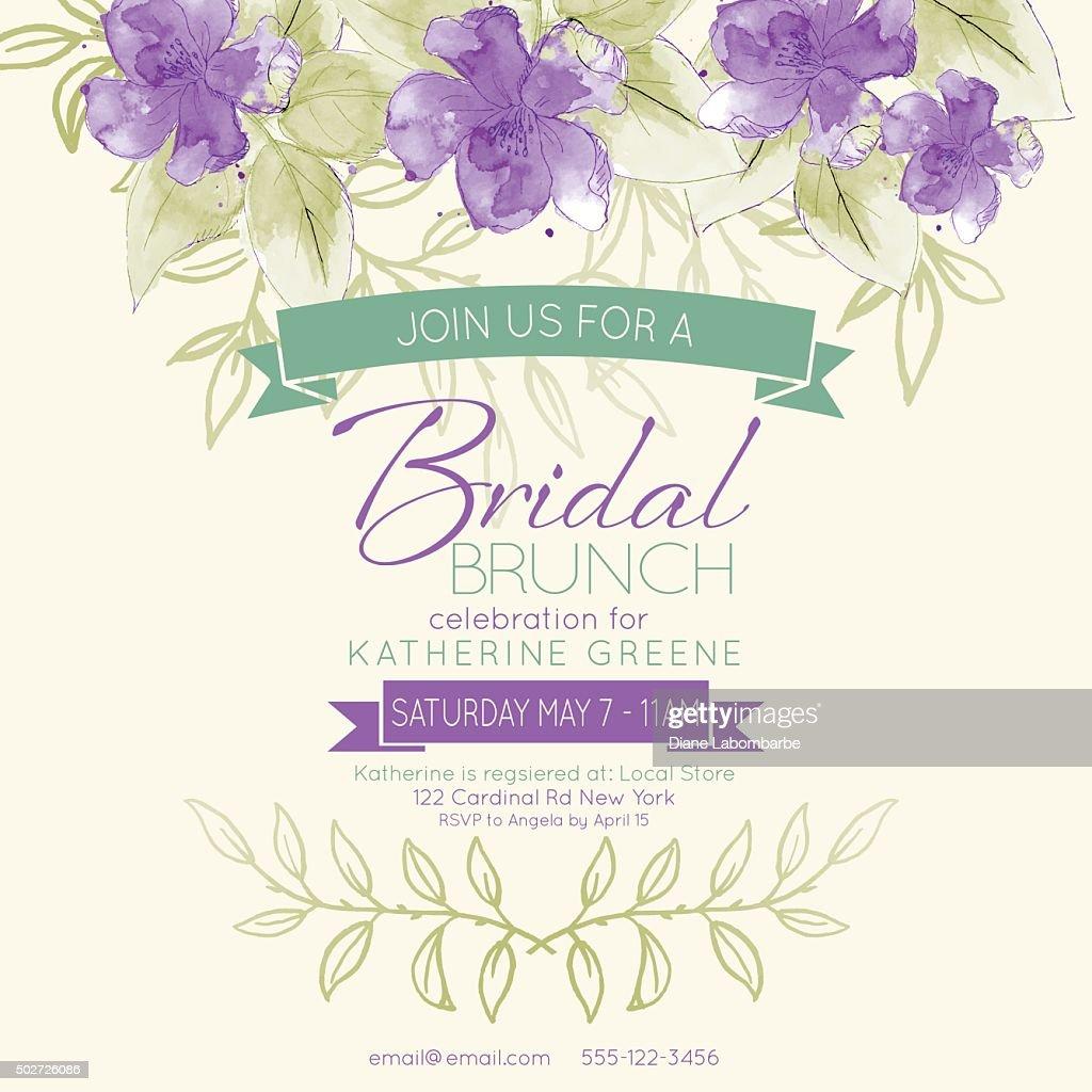 Pretty Feminine Watercolor Flowers Bridal Shower Invitation Template ...