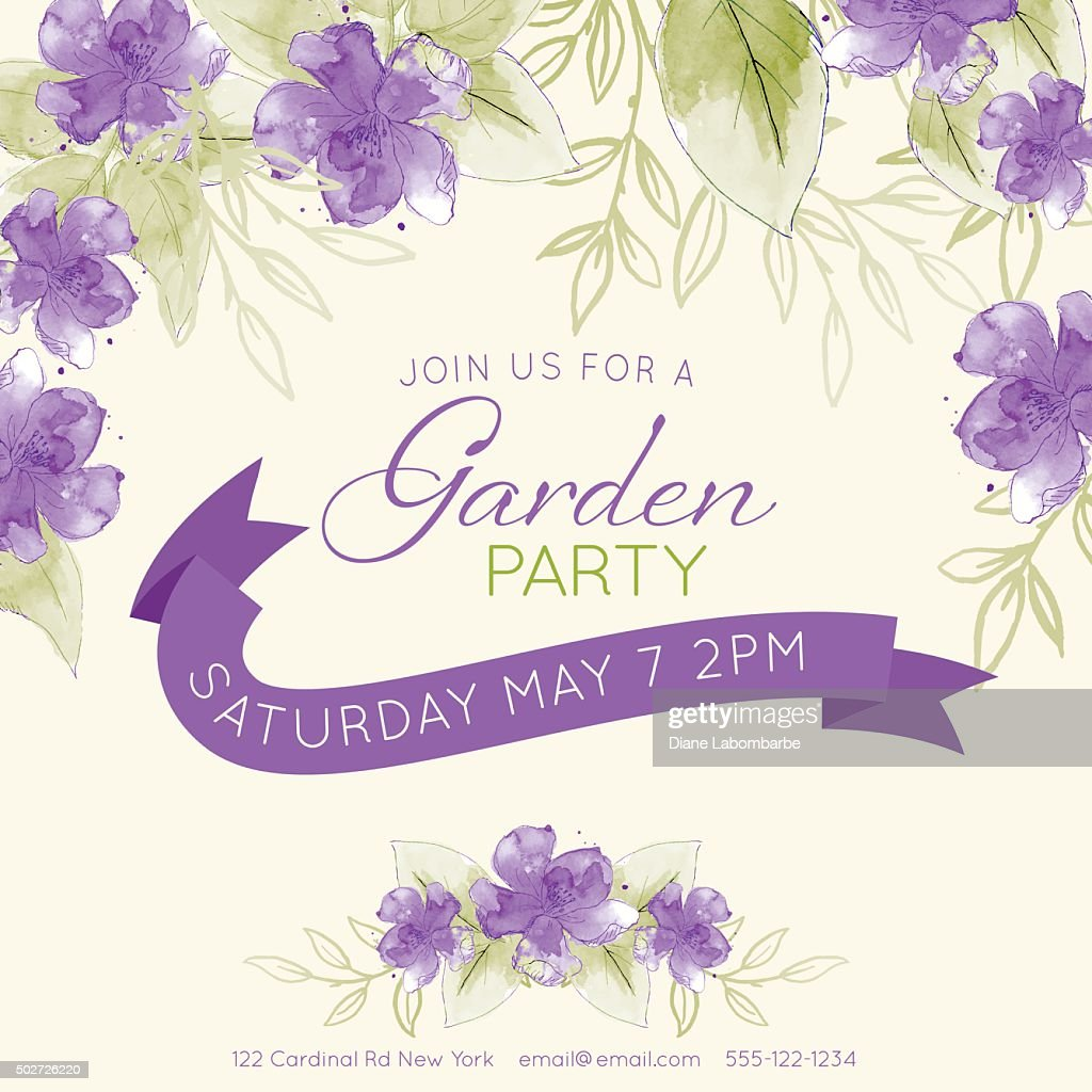 Pretty feminine Watercolor Flowers Garden Party Invitation Template