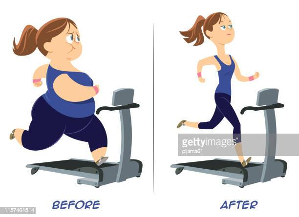 pretty girl before and after run. - fat female cartoon characters stock illustrations