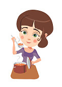 Pretty girl cooking dinner in the kitchen. Vector illustration.