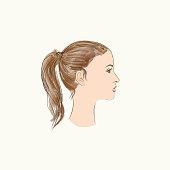 Pretty girl profile. Young woman face portrait