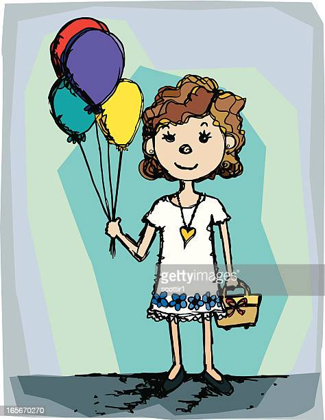 Pretty Girl With Purse and Balloons
