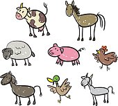 Pretty good Drawings of different farm animals