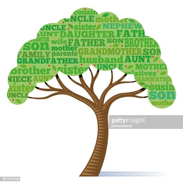 pretty little family tree illustration - family tree stock illustrations, clip art, cartoons, & icons