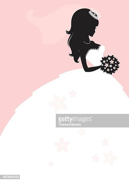 ilustraciones, imágenes clip art, dibujos animados e iconos de stock de hermosa princesa novia - vestido de novia