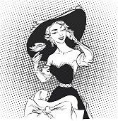 Pretty retro posing model with big hat. Women with rose. Pretty retro posing model with big hat.