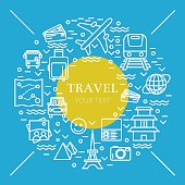 Pretty thin line vector illustration with travel icons symbols